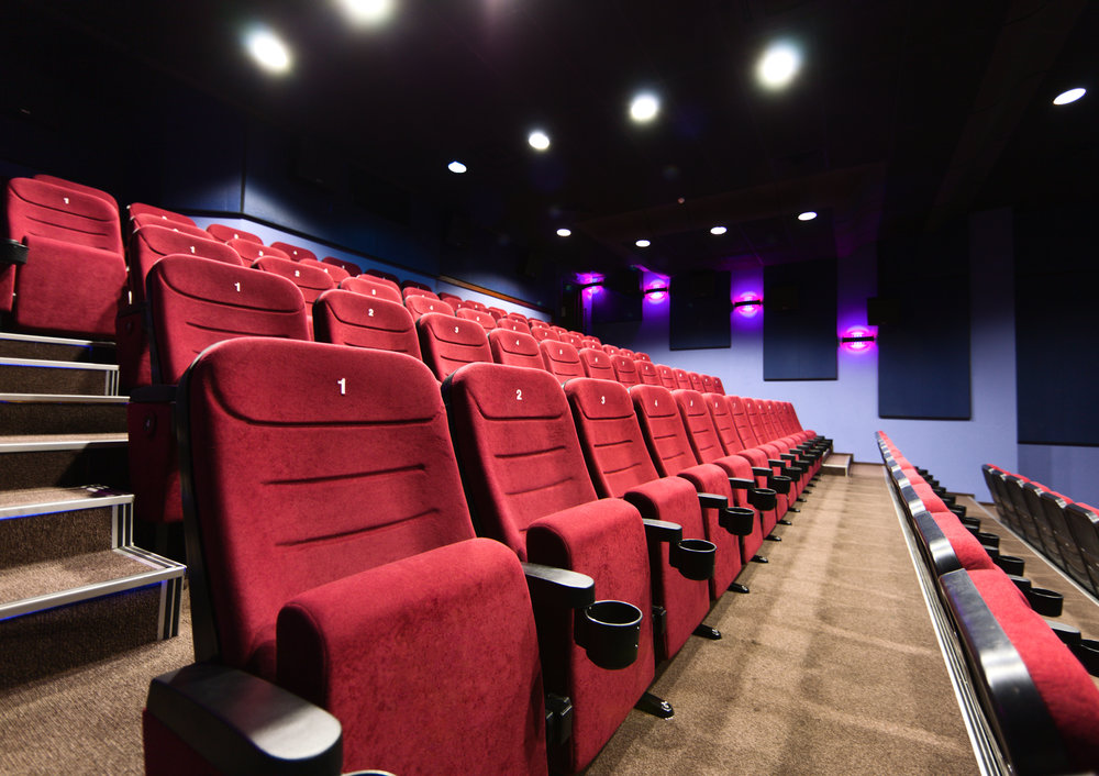 Rows of movie theater seats